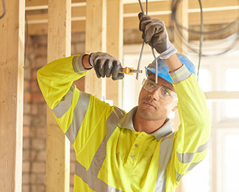 person working with wires